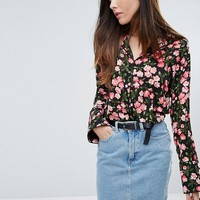 Warehouse Cherry Blossom Printed Blouse at asos.com