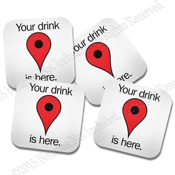 GPS Navigation Neoprene Coaster Set