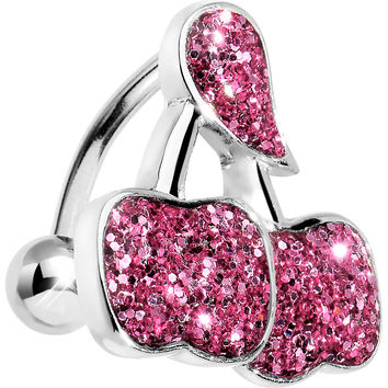 Pink Glitter Double Cherry Top Mount Belly Ring