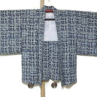 Vintage Navy Blue Haori Jacket with Geometric Print/  Blue Kimono Jacket/ Vintage Blue Jacket Fashion/ Traditional Costume JA0009VH