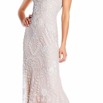 Adrianna Papell - AP1E202449 Botanical Beaded High Low Mesh Gown