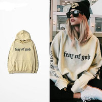 Fear Of God Hoodie Beige Purpose Tour Sweatshirt Gorilla Wear Hiphop Sweatshirt Skateboard Wes High Quality Tracksuit Men Brand