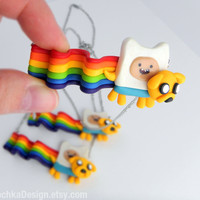 Nyan Time, Adventure Time Nyan Cat, Jake and Finn, Geek Necklace, Jewelry