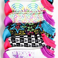 Pack of Six No Show Ankle Socks with Galaxy and Star Prints