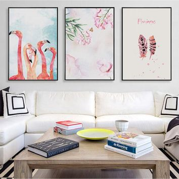Pink Flamingo Unframed Wall Art Home Decor