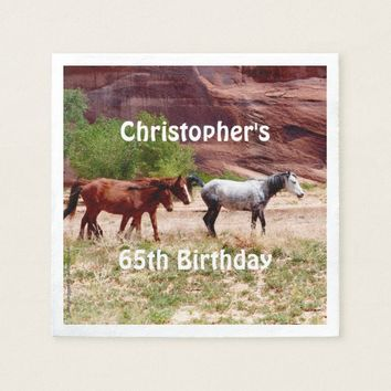 Three Horses Southwest Paper Napkins 65th Birthday
