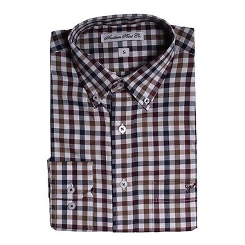The Hadley Shirt in Navy and Olive Check by Southern Point - FINAL SALE