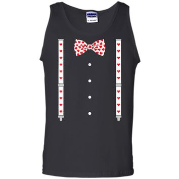 Hearts Bow Tie & Suspenders Valentine's Day Costume  Tank Top