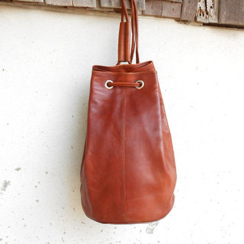 Vintage Brown Leather Bucket Bag , Crossbody Bucket Bag // Medium
