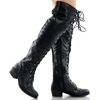 Alabama-12 Lace Up Over The Knee Oxford Boots