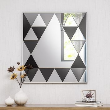 Barb Diamond Pattern Square Modern Beveled Accent Mirror
