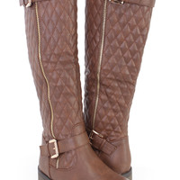 Brown Stitched Quilted Riding Boots Faux Leather