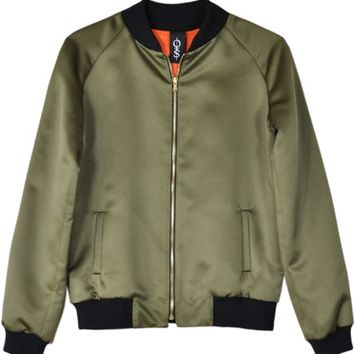 Obesity & Speed Green Silk Bomber Jacket