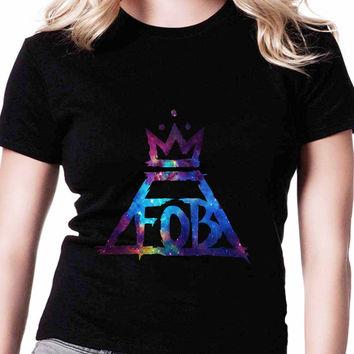 Fall Out Boy Logo Galaxy TV Womens T Shirts Black And White
