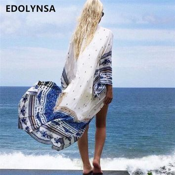 New Arrivals Beach Cover up Floral Romantic Swimwear Ladies Pareo Beach Cape Sun Bath Beach Wear Dress Chiffon Swimwear #Q14
