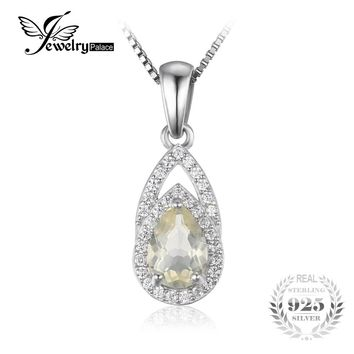 JewelryPalace Elegant 0.96 ct Natural Lemon Quartz Necklaces Pendant For Woman S925 Sterling Silver Chain Fashion Fine Jewelry