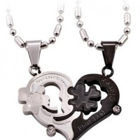 Creative Titanium Steel Couple Heart-shaped Necklace,With Annagle Lord of the Rings Necklace:Amazon:Beauty