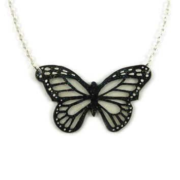 Small transparent and black monarch butterfly necklace with glitters, fairy fancy plastic necklace, handmade necklace made with recycled CD