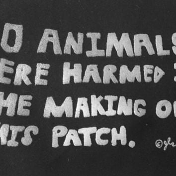 Art Punk Patches Punk Patch Print DIY Vegan Vegetarian XVX Animal Rights Animal Liberation Crust No Animals Were Harmed Small Cloth Patch