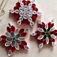 handmade paper quilled  Christmas snowflake ornaments – set of three