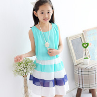 Girls Striped Chiffon Princess Summer Dress