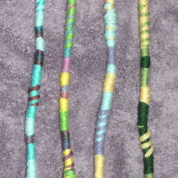 4 Hippie Hair Wraps, Pastels, Yarn Falls, Braid & Dreadlock Accessories, Atebas, Dread Falls