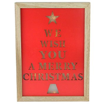 """11.75"""" We Wish You a Merry Christmas LED Battery Operated Decorative Wall Decoration"""