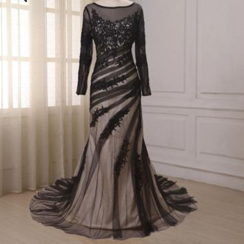 Long Sleeve Evening Dress Lace Mermaid Mother of the Bride Dresses Long Dress Evening Mother Gowns