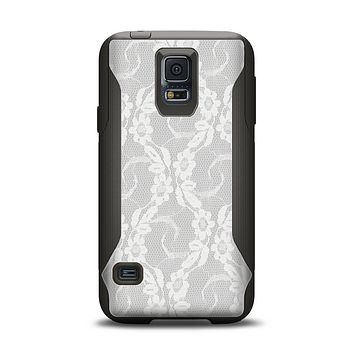 The White Floral Lace Samsung Galaxy S5 Otterbox Commuter Case Skin Set