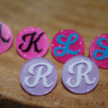 Glitter Monogram Stud Earrings, Sparkle Stud Earrings, Glitter Earrings, Preppy Monogram Earrings, Girly Earrings, Fashion Earrings