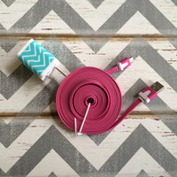 New Super Cute Turquoise & White Chevron Designed Wall Dual USB Connector + 6ft Flat Hot Pink iPhone 5/5s/5c Cable Cord