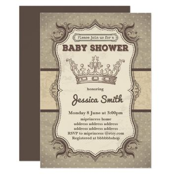 Vintage BABY SHOWER invitation - princess crown