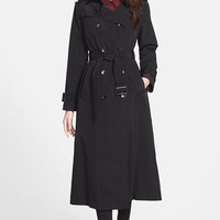 Women's London Fog Long Trench Coat with Removable Hood ,