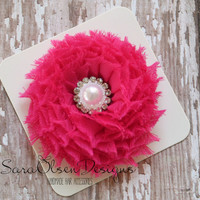 Rosette Hair Clip, Bright Pink, Swirl Chiffon Flower, Flower Hairbow, Frayed Chiffon Hairclip, Children's Hair Accessories, Girls Hairbow