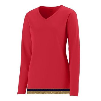 Women's Performance Red Long Sleeve T-shirt With Fringes