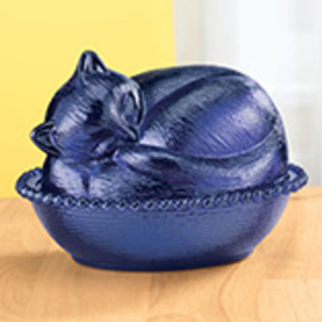 Cobalt Blue Depression Style Glass Cat Candy Dish