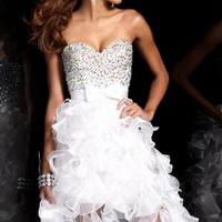 Hi Lo Ruffled Dress by Sherri Hill