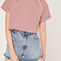 Missguided - Petite Roll Sleeve Crop Top Pink