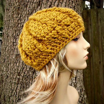 Crocheted Hat Womens Hat - Monarch Ribbed Beret in Golden Rod Mustard Yellow