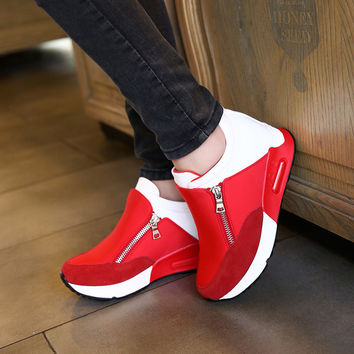 Fashion 2016 Spring Brand Women Casual Shoes Zipper Height Increasing Breathable Women Walking Flats Trainers Shoes Autumn