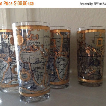Mid Century Modern Tall Highball or Water Glasses Gilded Gold Old World Map by Cera Glass
