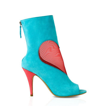 Turquoise Coral Mesh Heart Ankle Boot by DEEVA