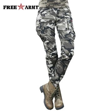 Summer Camouflage Pants Women Camouflage Cargo Pants Women Military Fashion Casual Loose Baggy Pants