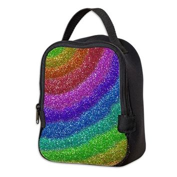 GLITTERS RAINBOW NEOPRENE LUNCH BAG