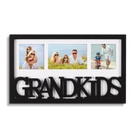 3 Opening Black Wood Wall Hanging Picture Photo Frame - 4x6 & 4x4