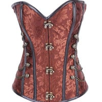 Full Steel Boned Brocade Overbust Steampunk Corset with Chains Brown