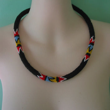 Vintage hand beaded African tribal necklace