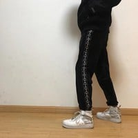 """Kappa"" Unisex Casual Retro Stitching Logo Webbing Coral Velvet Sweatpants Couple Leisure Pants Trousers"