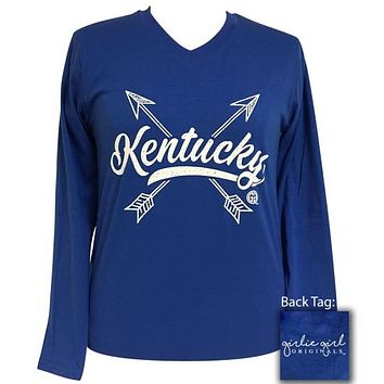 Girlie Girl Preppy Kentucky Arrows V-Neck Long Sleeve T-Shirt