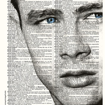 James Dean Vintage Hollywood Dictionary Art Print Vintage Dictionary Page Upcycled Book Art Home Decor Wall Decor Art Print Retro Photo